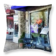Shopfront - Music And Coffee Cafe Throw Pillow