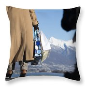 Shopping Bags And A Dog Throw Pillow