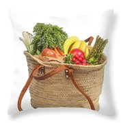 Shopping For Orrganic Fruit And Vegetables  Throw Pillow