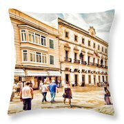 Shopping In Menorca Throw Pillow