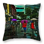 Shopping In The Rain - Knoxville Throw Pillow