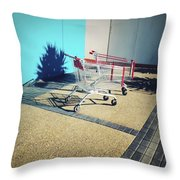 Shopping Trolleys  Throw Pillow by Les Cunliffe