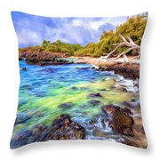 Shoreline At Puako Throw Pillow
