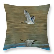 Short-billed Dowitcher And Reflection Throw Pillow