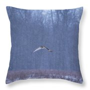 Short Eared Owl In Motion Throw Pillow