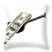 Shovel Of Dollar Throw Pillow by Olivier Le Queinec