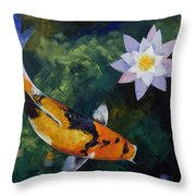 Showa Koi And Water Lily Throw Pillow