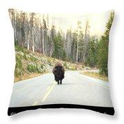 Showdown At Yellowstone Throw Pillow