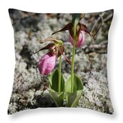 Showy Lady's Slipper 2 Throw Pillow