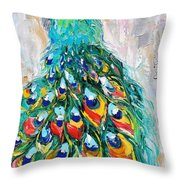 Showy Peacock Throw Pillow