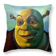Shrek Throw Pillow by Paul Meijering