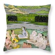 Shri Sukdevji Preaching To A Concourse Throw Pillow