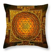 Shri Yantra Gold Lakshmi Throw Pillow by Lila Shravani