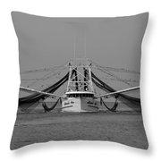 Shrimp Boat - Bw Throw Pillow