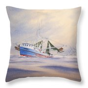 Shrimp Boat On The Gulf Throw Pillow