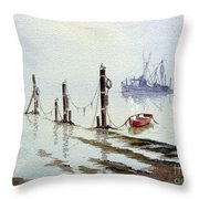 Shrimp Boat With Evening Lights Throw Pillow