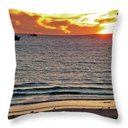 Shrimp Boats And Gulls Over Sea Of Cortez At Sunset From Playa Bonita Beach-mexico Throw Pillow
