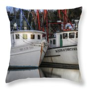 Shrimp Boats Reflecting Throw Pillow