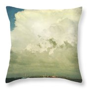 Shrimp Boats Headed Out Throw Pillow