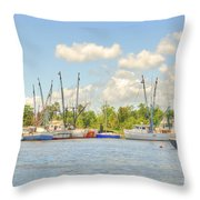 Shrimp Boats In Georgetown Sc Throw Pillow