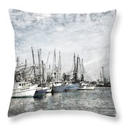 Shrimp Boats Sketch Photo Throw Pillow
