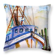Shrimp Fishing Boat Throw Pillow