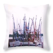 Shrimpers On The Shem Throw Pillow