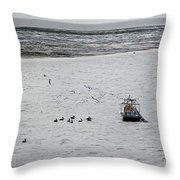 Shrimping In Mobile Bay Throw Pillow