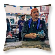 Shucking Oysters In The French Quarter Throw Pillow