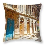 Shutters And Doors Along The Street In Bhaktapur-city Of Devotees-nepal  Throw Pillow