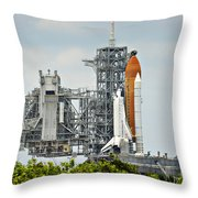Shuttle Endeavour Is Prepared For Launch Throw Pillow