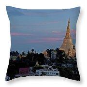 Shwedagon Pagoda In Yangon Myanmar Throw Pillow