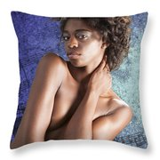 Chynna African American Nude Girl In Sexy Sensual Photograph And In Color 4786.02 Throw Pillow