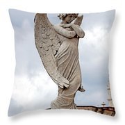 Shy Angel Throw Pillow