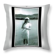Shy Girl With New Easter Dress Throw Pillow