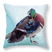 Shy Is A Wood Duck Throw Pillow