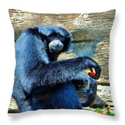 Siamang Having A Snack Throw Pillow