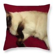 Siamese Expressive Brushstrokes Throw Pillow