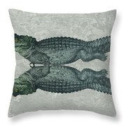 Siamese Twins Blue And Green Crocodiles On Sage Green Stone Throw Pillow