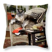 Funny Pet A Wine Bibbing Kitty  Throw Pillow