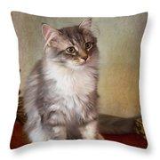 Siberian Forest Kitten II Throw Pillow
