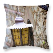 Sicilian Village Lamp Throw Pillow by David Smith