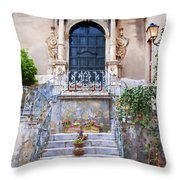 Sicilian Village Steps And Door Throw Pillow by David Smith