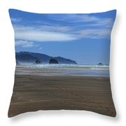 Side By Side Along The Beach Throw Pillow