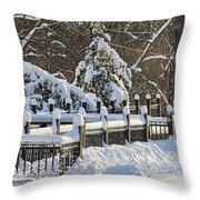 Side Cut Park Winter Wonderland Throw Pillow