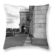 Side Entrance Bw Throw Pillow