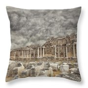Side Nymphaeum Fountain Ruins Throw Pillow