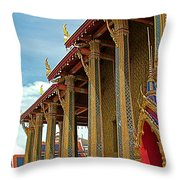 Side Of Royal Temple At Grand Palace Of Thailand In Bangkok Throw Pillow