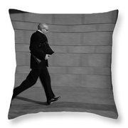 Side Profile Of A Businessman Running Throw Pillow