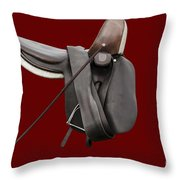 Sidesaddle And Crop Throw Pillow by Linsey Williams